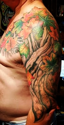 Tree & leaves tattoo by Anthony Filo
