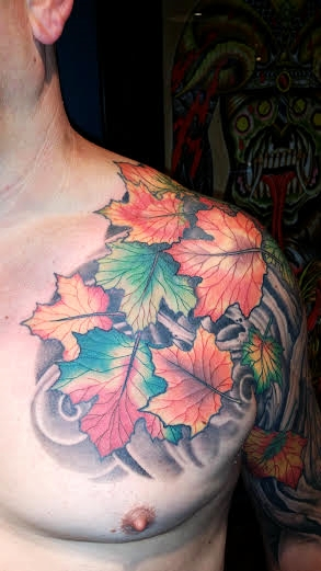 Tree & autumn leaves tattoo by Anthony Filo