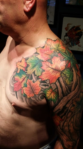 Tree and leaves half sleeve by Anthony Filo