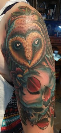 Owl tattoo by Anthony Filo