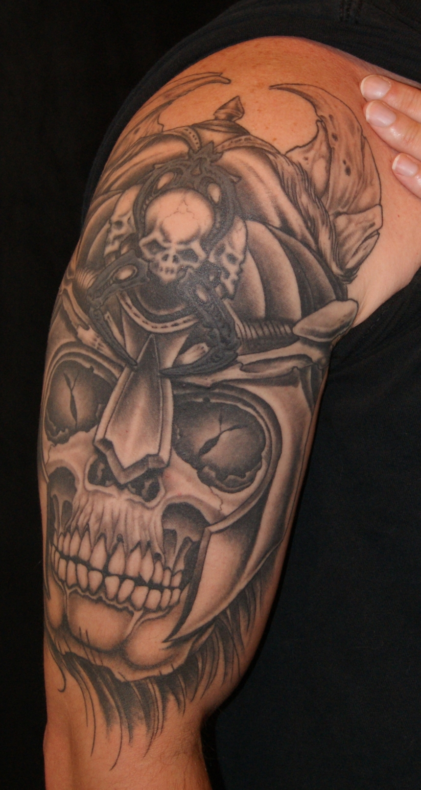 Viking warrior skull tattoo by Anthony Filo