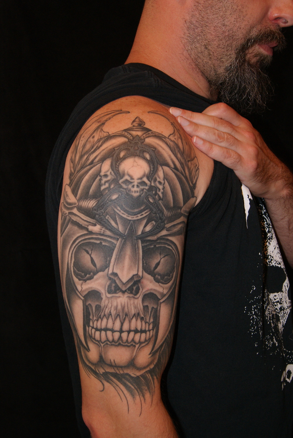 Viking skull warrior tattoo (existing tribal & skulls re-worked and incorporated) by Anthony Filo