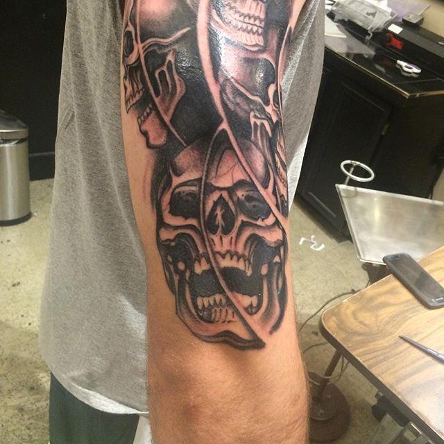 #tattoo #skull tattoo #seattletattooer #seattleartist #pacificnorthwesttattooartist #rentonwa #skullsleeve #halfsleeve #rad #tats #undertheneedletattoo