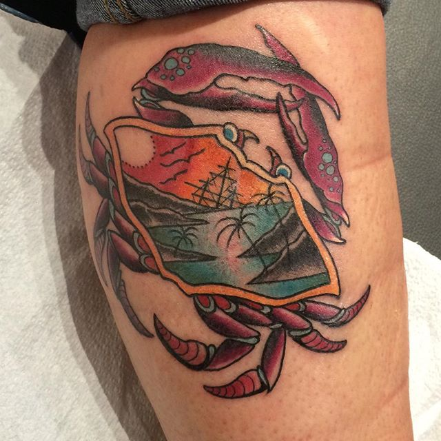 #undertheneedletattoo #tats #crab #crabtattoo #tattoo #seattle #seattleartist #seattletattoo #pacificnorthwesttattooers #ship #shiptattoo #palmtreetattoo