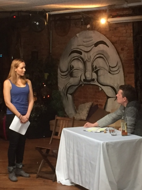 Sara Hymes and drew hutcheson perform a very intense pinter scene in front of a crazy moon. #livingwiththeabsurd
