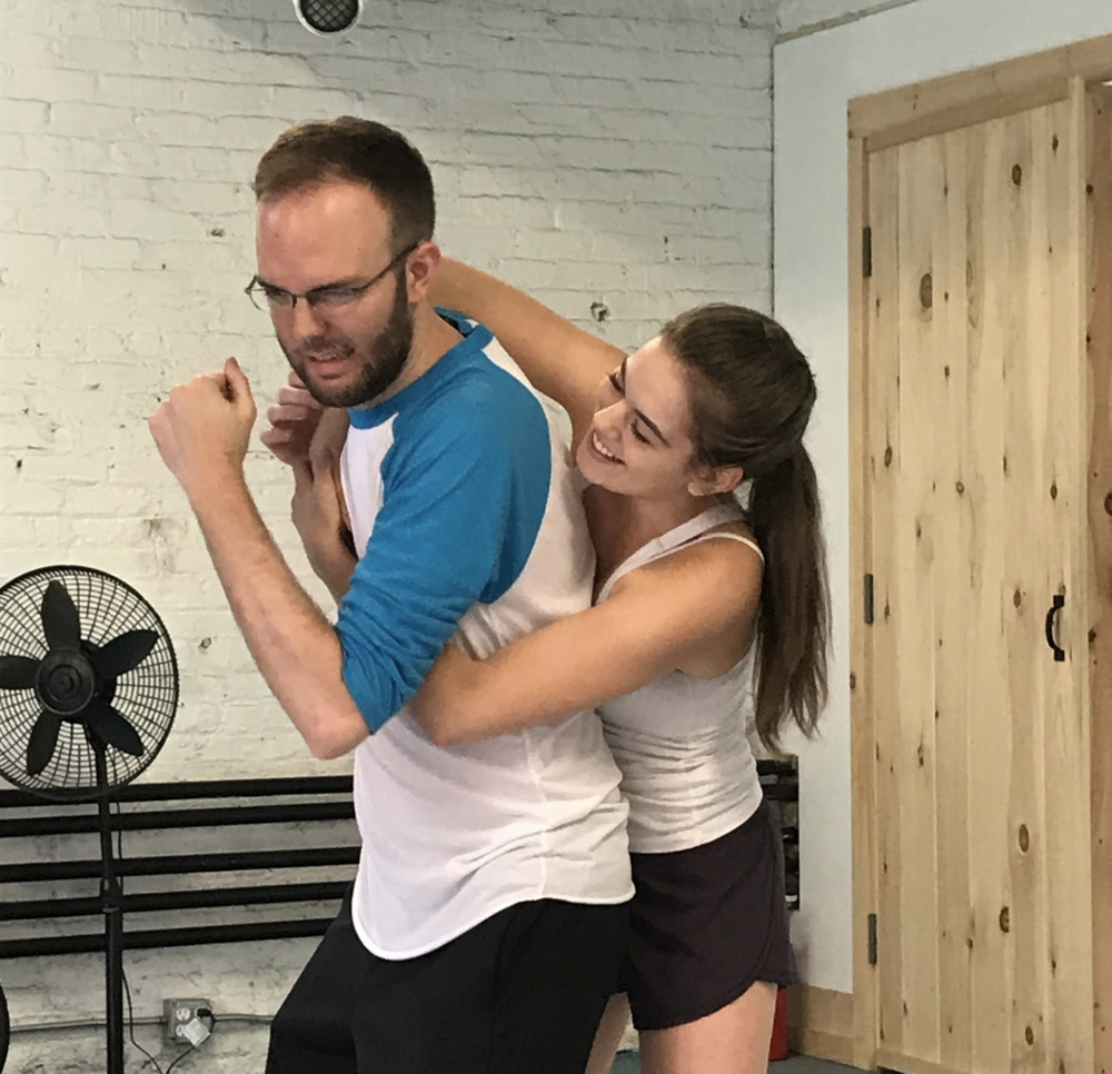 "jory and rachel sharing a playful moment during rehearsals for the first run of ""taste of shakespeare;"" can't wait to see what they bring to the next round!"
