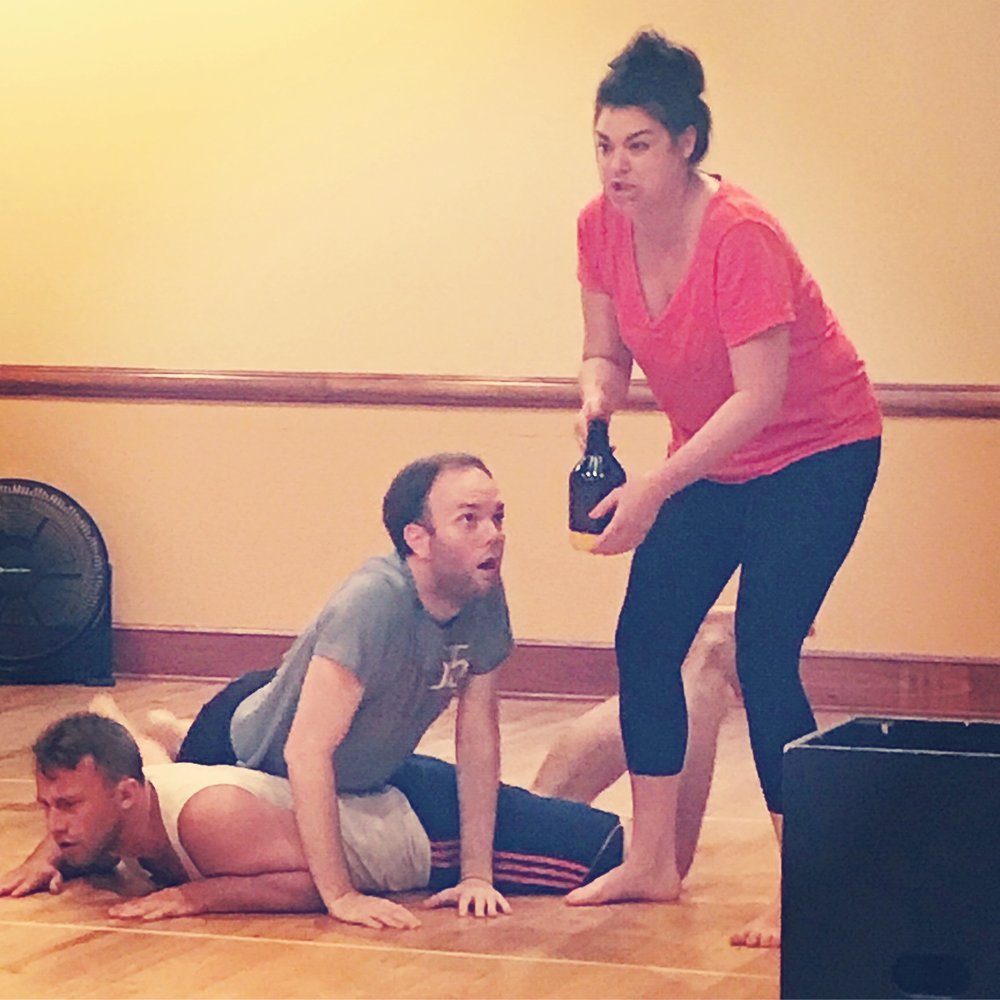 """Olivia, jory, and mike rehearsing for """"taste of shakespeare."""""""