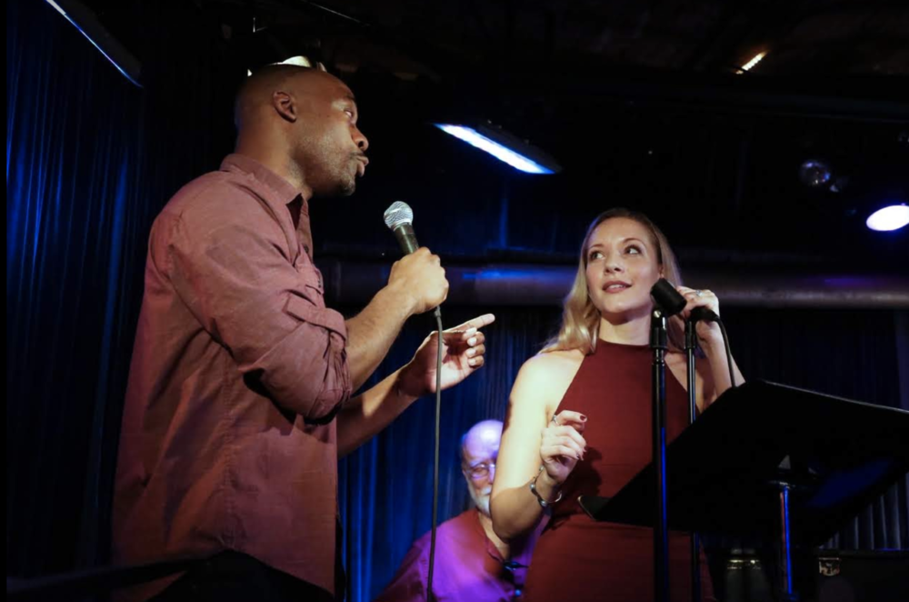 "jamal and sara putting a ""macbeth"" spin on sondheim's ""unworthy of your love"" (photo by basil rodericks))"