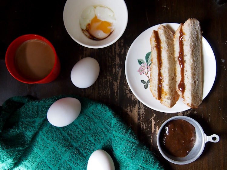 The malaysian power breakfast: kaya toast, half-boiled eggs  seasoned with soy sauce and ground white pepper, and coffee | VERMILION ROOTS