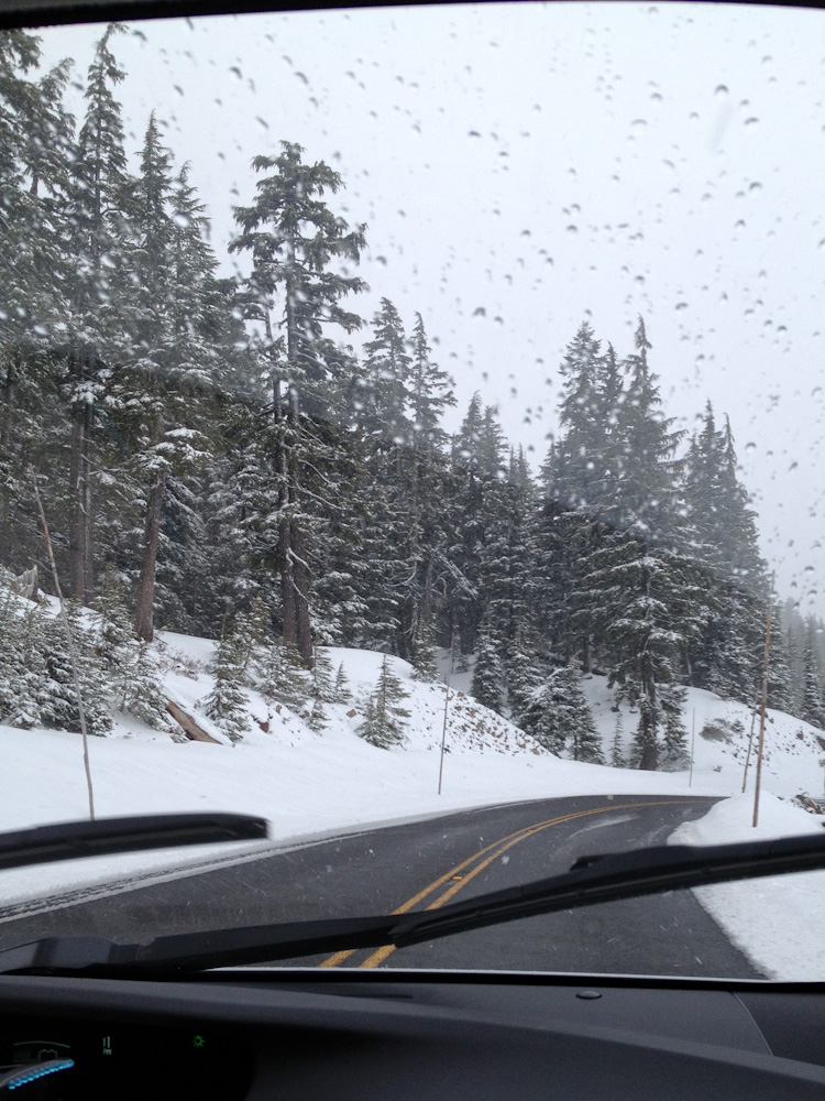 on the way to crater lake it snowed
