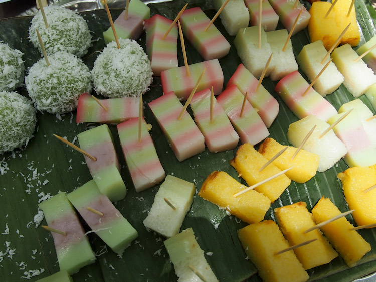 Nyonya kuih. Popular as snacks in Malaysia, these steamed sweet cakes are typically made of rice flour, tapioca flour and coconut milk