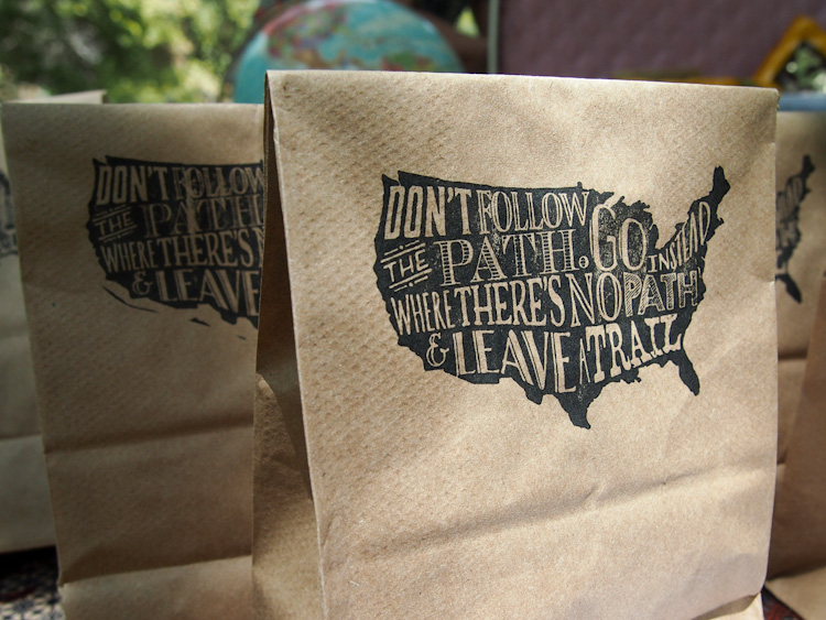 PICNIC RECEPTION GOODIE BAGS  with a ralph waldo emerson quote