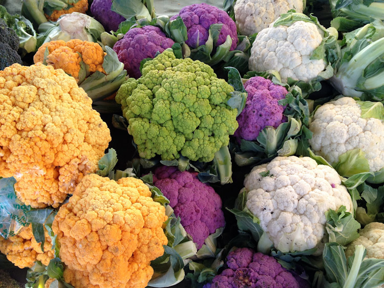 Colorful cauliflower at the farmers market