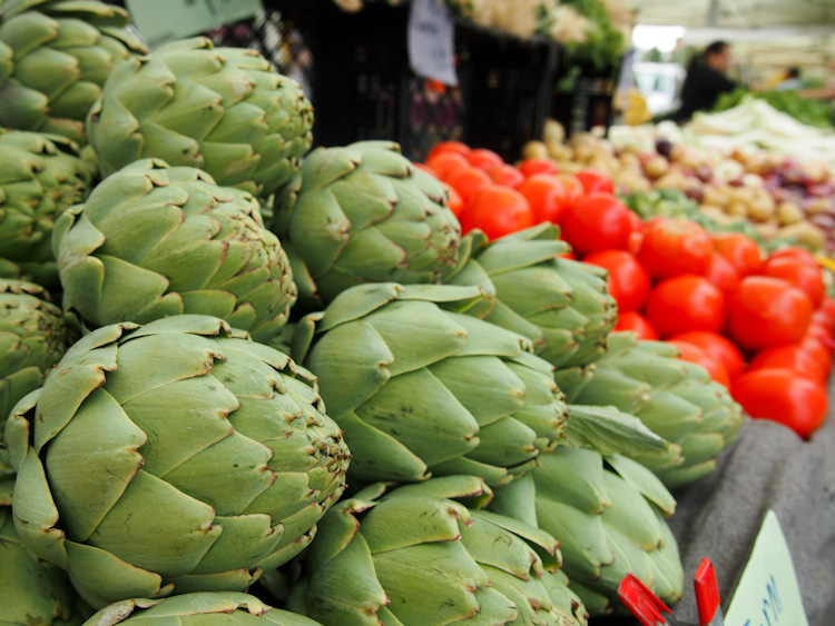artichokes at a farmers market in the san francisco bay area