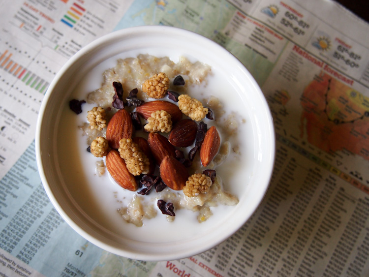 Breakfast: Multigrain porridge with chunky toppings