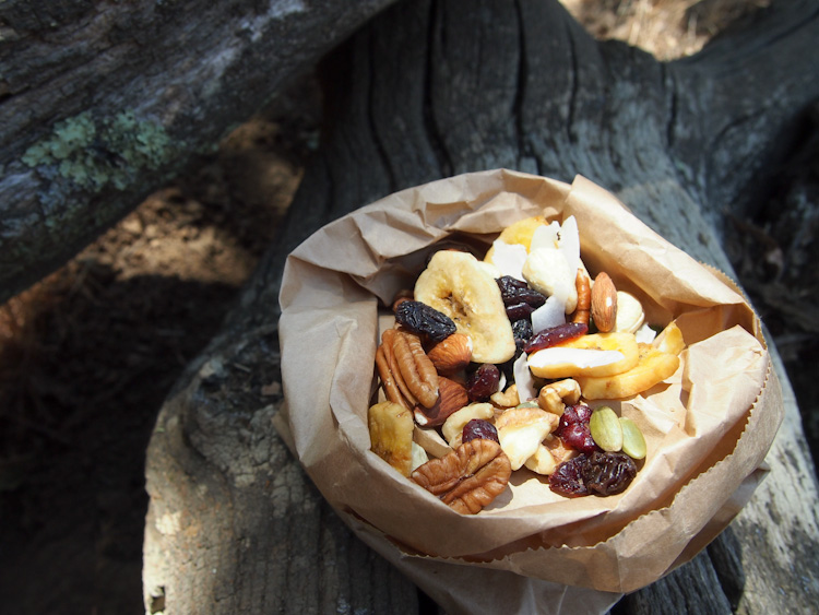 Grant Ranch Tropical Trail Mix | vermilionroots.com. Nuts provide protein and good fats for energy, dried fruits contribute natural sweetness while banana chips and coconut flakes add a tropical touch.