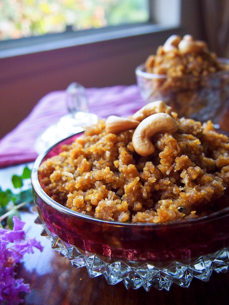 Roasted Chana Dal with Jaggery and Coconut (Okkarai) for Diwali | vermilionroots.com