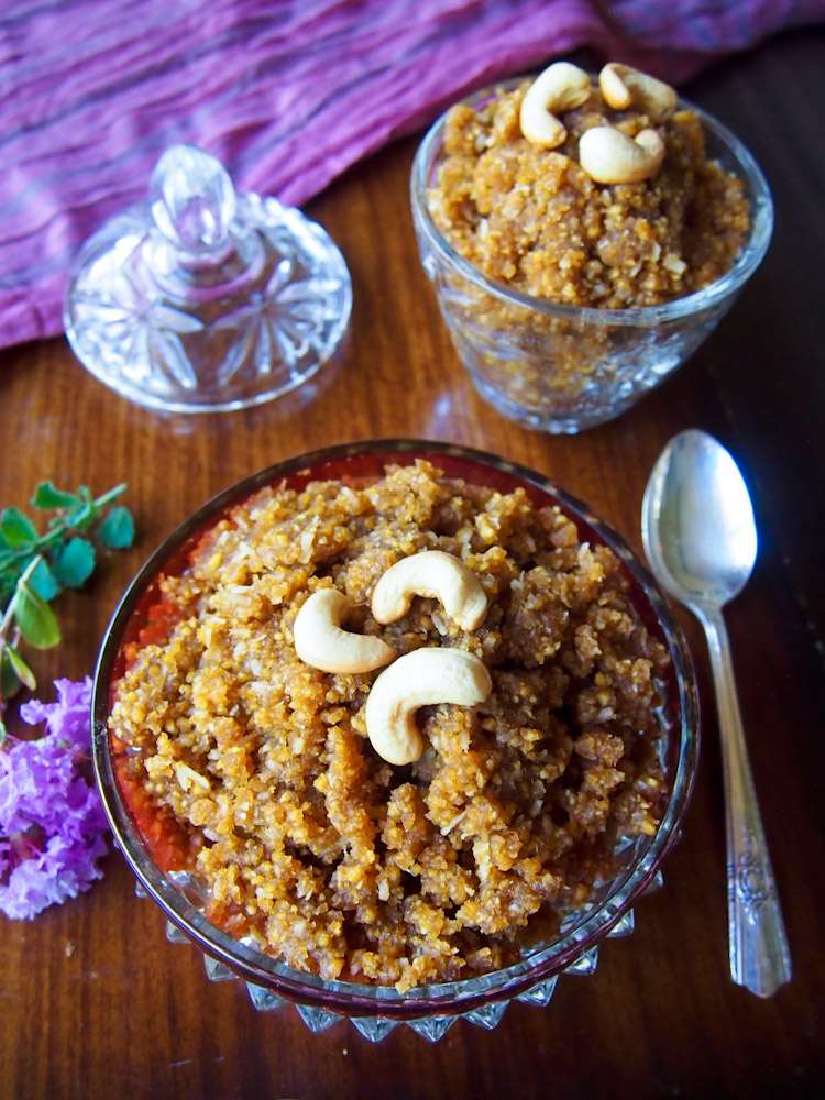 Roasted Chana Dal with Jaggery and Coconut (Okkarai) for Diwali | vermilionroots.com. A festive sweet dish from South India made with chana dal, jaggery (palm sugar), coconut and ghee.