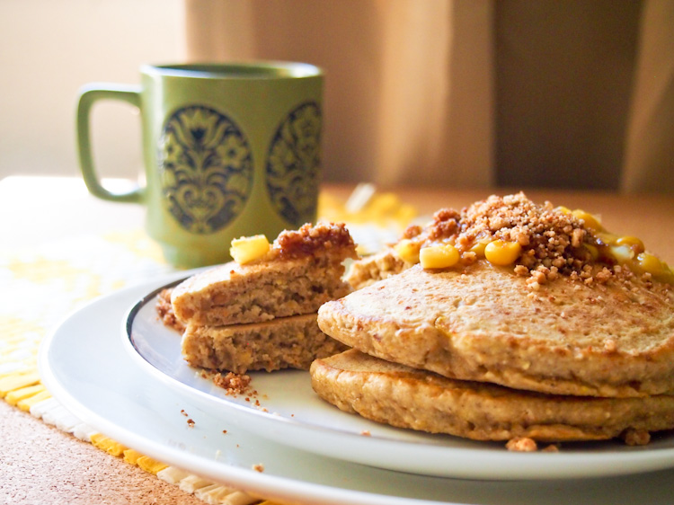 Corn Pancakes with Apam Balik Toppings (Gluten-Free, Dairy Free) | vermilionroots.com. These scrumptious pancakes are fashioned after the popular Malaysian turnover pancake apam balik. They are light and fluffy, and do not need a lot of sugar as the cream of corn and peanut-coconut sugar topping provides plenty of sweetness.