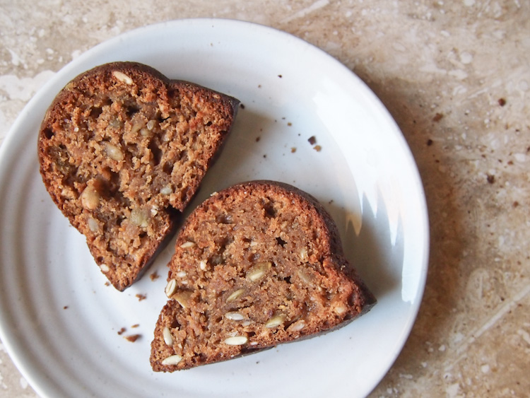 Rye Pound Cake with Seed Medley | vermilionroots.com. A deliciously moist dairy-free cake made with rye flour that has a nice crunch from sunflower, pumpkin, sesame and caraway seeds.