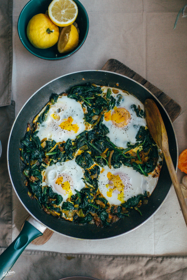 Spinach and eggs for breakfast in Iran