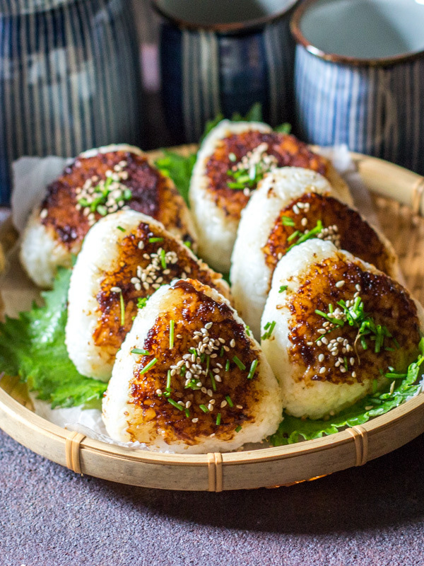Grilled rice balls make a convenient breakfast in Japan