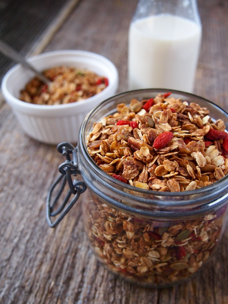 Homemade Soy Milk and Goji Berry Granola | vermilionroots.com.