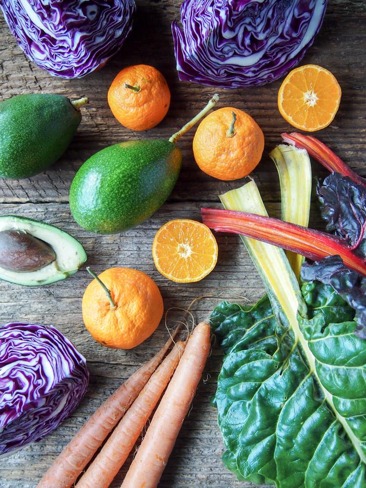 Mandarin Rainbow Salad with Avocado Tahini Dressing | vermilionroots.com.