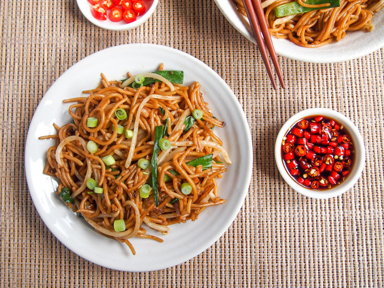 Soy Sauce Stir-Fried Noodles |   vermilionroots.com  . A quick and easy vegetarian noodle stir-fry that packs in the flavor!