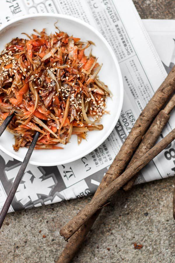 Japanese Burdock and Carrot Stir Fry (Kinpira Gobo)