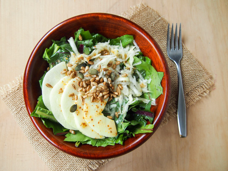 Dandelion and Celeriac Salad with Lemon Maple Syrup Dressing | vermilionroots.com. The bitterness of the dandelion greens is wonderfully soothed by the celeriac's sweet earthy taste and a zesty lemon dressing.