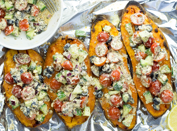 Baked Sweet Potatoes with FetA Salad