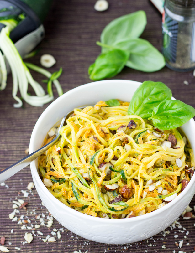 Zucchini Noodles with Hazelnut-Carrot Sauce