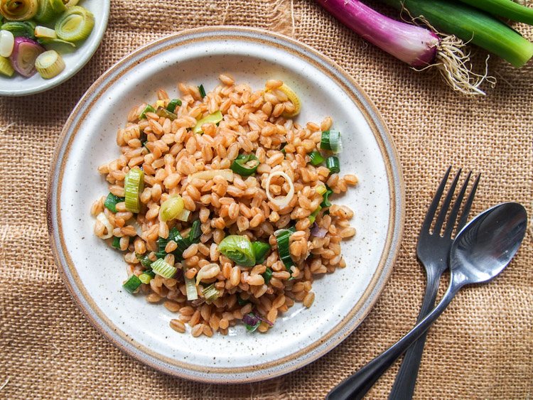 Green Garlic and Spring Onion Fried Farro | vermilionroots.com. Inspired by Japanese garlic fried rice, this simple recipe captures the taste of Spring in every chewy bite.