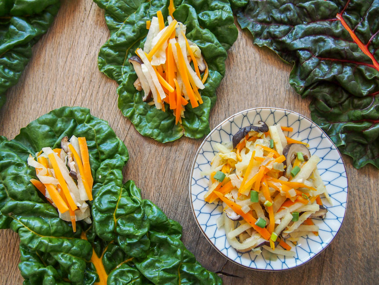 Asian Rainbow Chard Wraps | vermilionroots.com. A vegetarian version of the Malaysian Nyonya salad called Jiu Hu Char served with fresh Swiss Chard leaves. Really simple and delicious!
