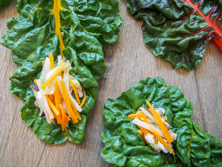 Asian Rainbow Chard Wraps |  vermilionroots.com . A vegetarian version of the Malaysian Nyonya salad called Jiu Hu Char served with fresh Swiss Chard leaves. Really simple and delicious!