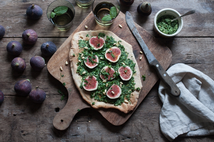 Vegan Fig and Kale Pesto Pizza