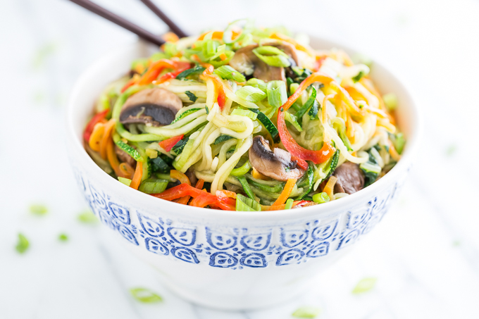 Zucchini Noodle Veggie Lo Mien by Get Inspired Everyday