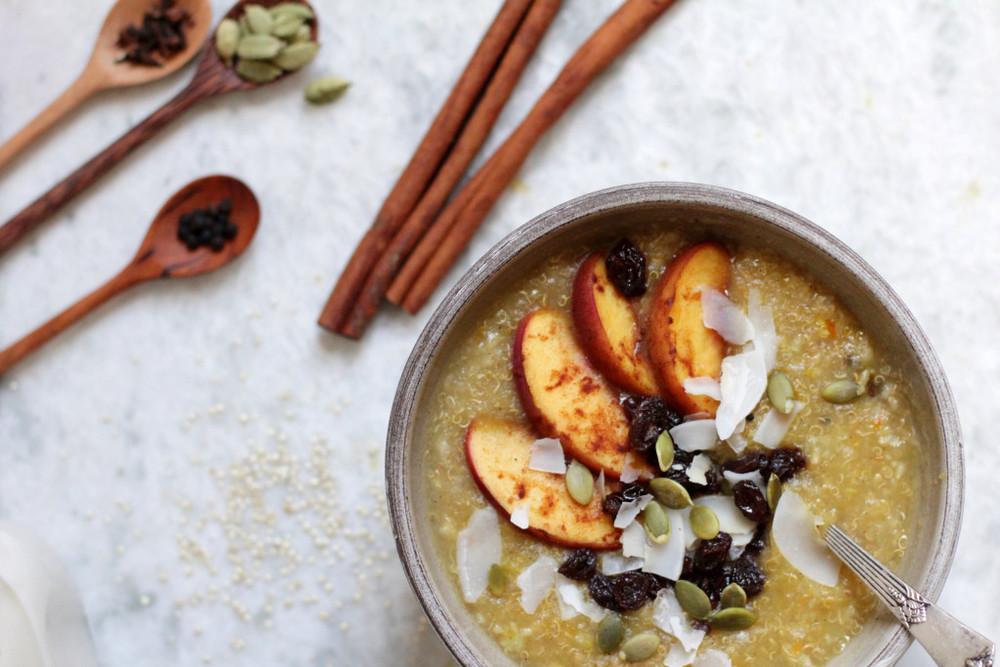 Ayurvedic Breakfast Porridge with Stewed Fruit