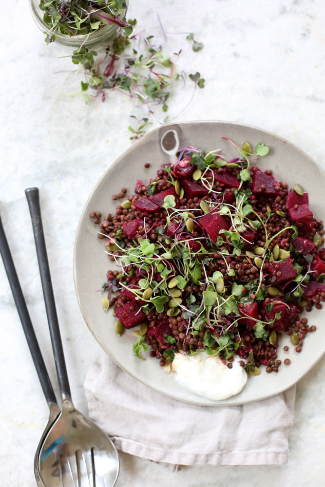 Spring Beluga Lentil and Beet Salad with Coriander Vinaigrette