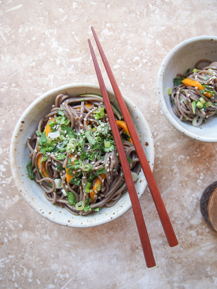 Soba Noodle Salad with Tamari Dressing | vermilionroots.com. A refreshing cold salad featuring gluten-free buckwheat noodles and a zesty tamari dressing.