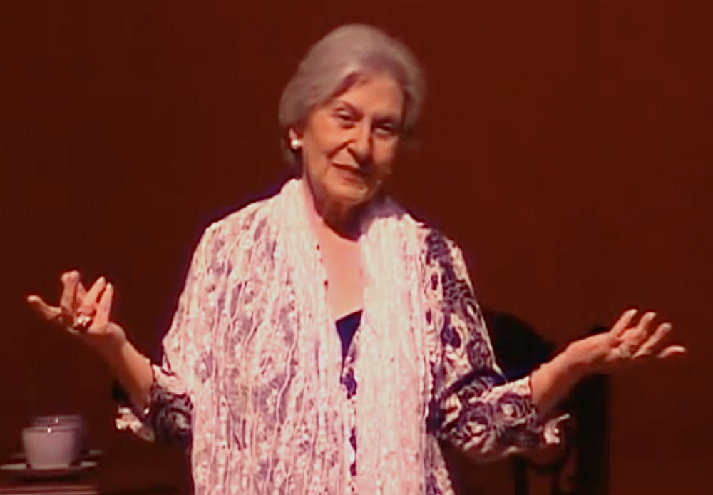My wise mother, Jayne Adame, a still from her one-woman show in 2006 at El Paso's Plaza Theater.