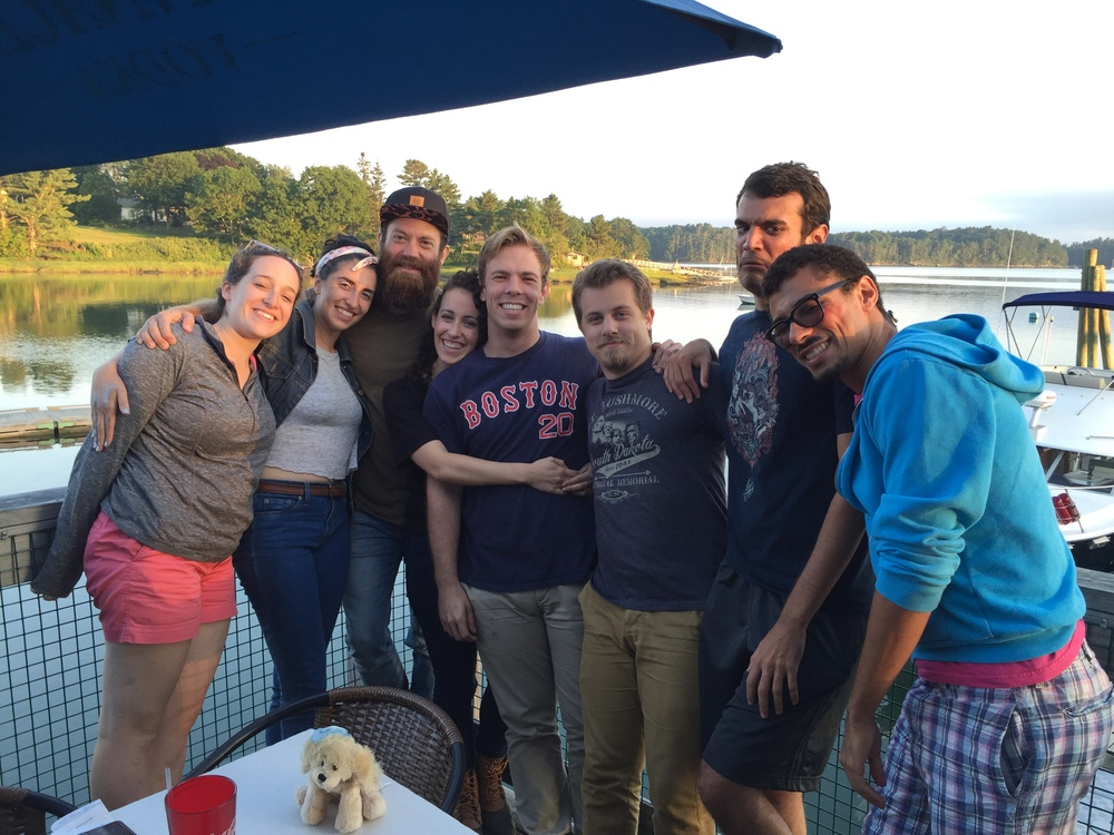 (Some of) the cast of  The Tempest at Schooner's in New Castle, ME.(From left to right: Diana Jurand, Helena Fahri, Steven Shema, Deirdre Manning, Patrick Sylvester, Vincent Hannam, Jason Osorio, Jahmeel Powers)