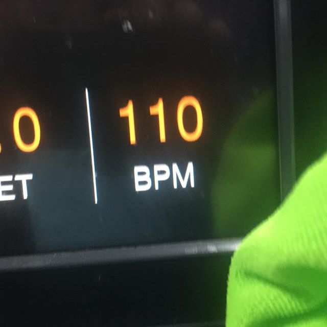 """110 is 65% of my maximum heart rate.  This is the beats per minute I need to be at to have effective 'light aerobic exercise""""."""