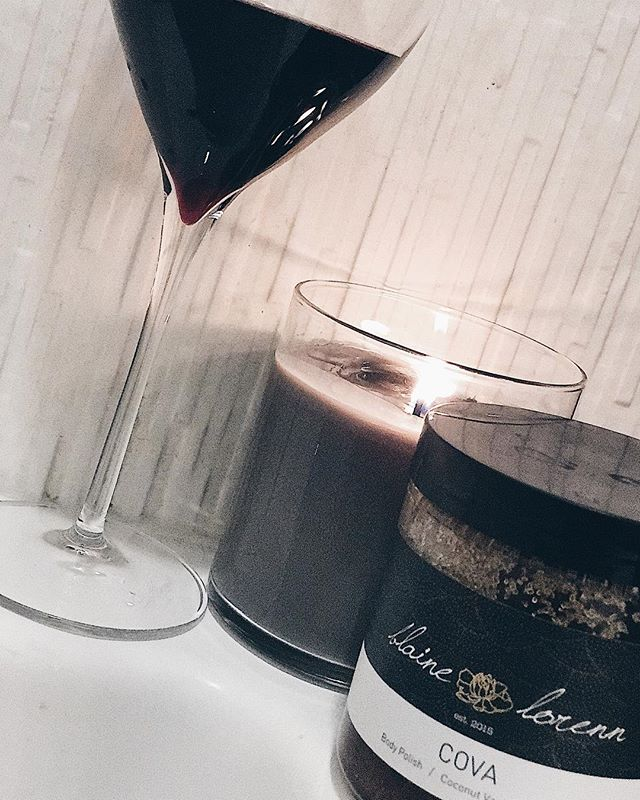 Couldn't have had a better day.... BL Cova body polish, red wine and candles. Hello! #BlaineLorenn #Cova #BodyPolish #Exfoliate #Apothecary #RedWine #BubbleBath #ThirstThursday #Candles