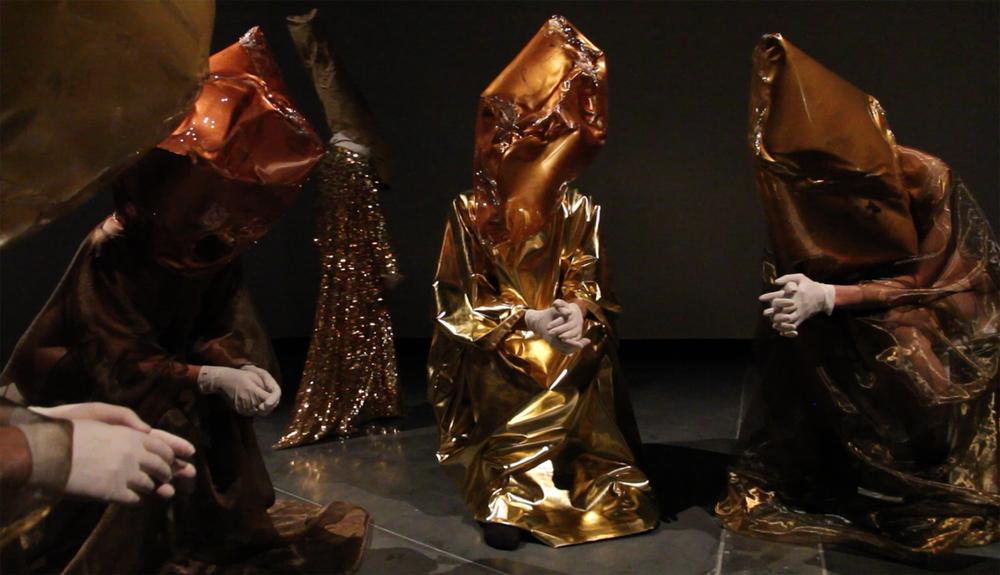 Performance still: Mikala Dwyer - Goldene Bend'er, 2013, Australian Centre for Contemporary Art, Melbourne