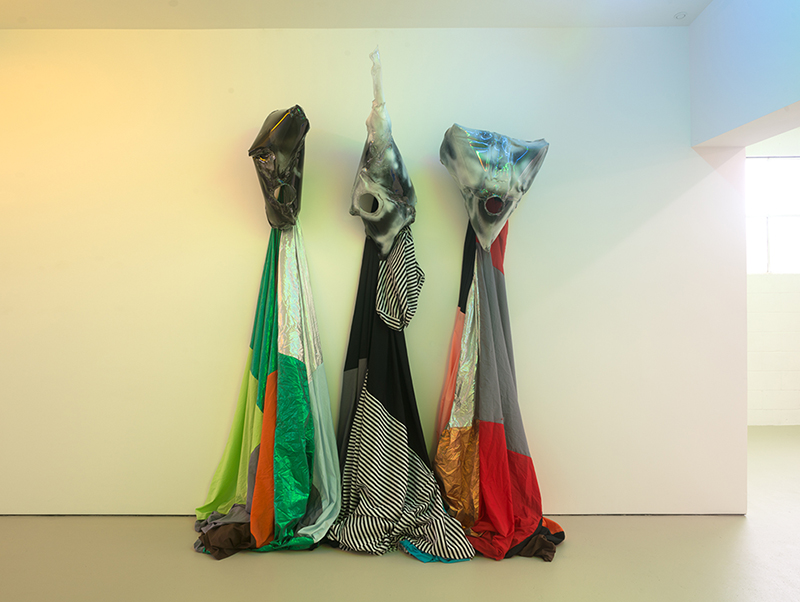 Mikala Dwyer, Costumes, 2016, fabric, plastic, spray enamel, three parts, each 230 x 50 x 70cm overall approx.