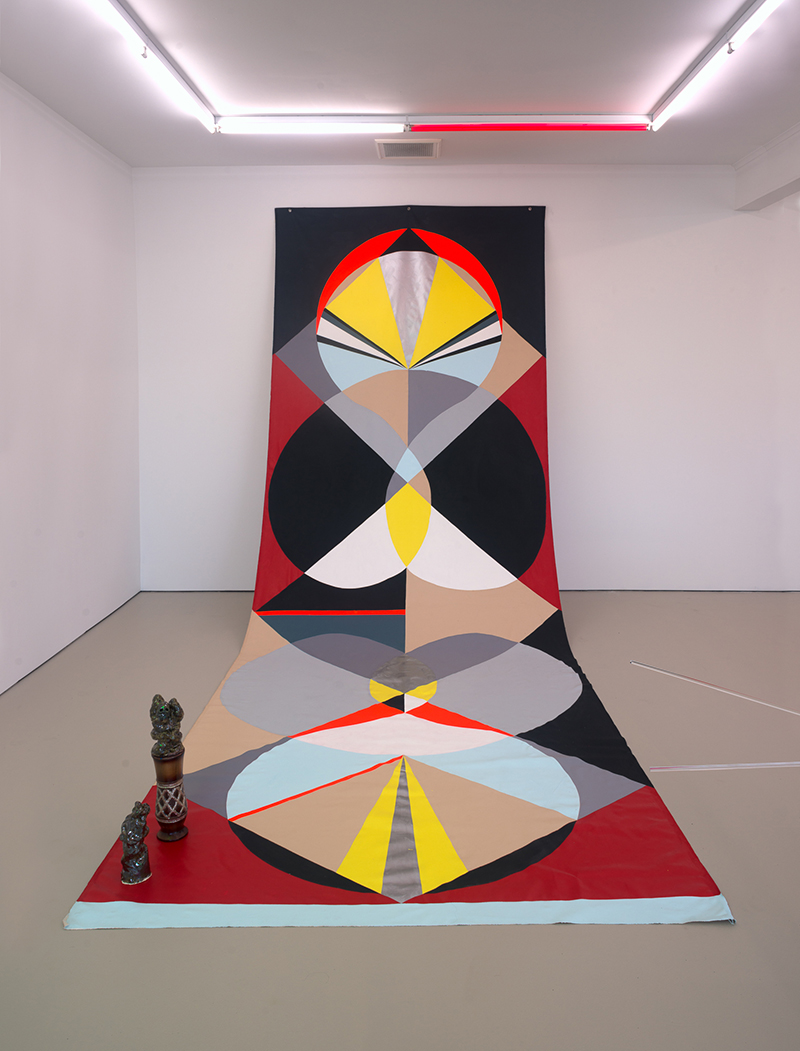 Mikala Dwyer, Backdrop for Rounders, 2016, acrylic on canvas, glazed ceramic, wooden base, glitter, three parts, backdrop: 600 x 220cm, ceramics: 30 x 10 x 10cm, 56 x 10 x 10cm