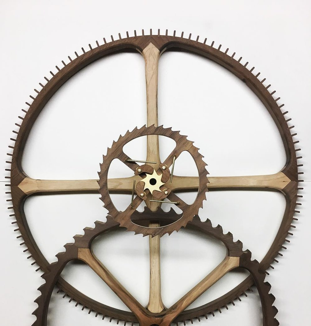 unfinished hickory & walnut gears for a wall clock