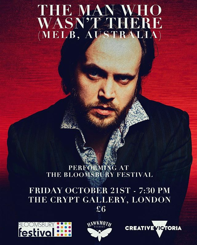 Friday October 21st, @tmwwthere from @slowdissolveband performs a special show at The Crypt Gallery in London as part of the 2016 Bloomsbury Festival - presented with the support of Creative Victoria ... Photo by @elisabryantjones #tmwwt #themanwhowasntthere #london #thecryptgallery #unitedkingdom #musicvictoria #melbournemusic #instrumentalmusic #hawkmothrecords #slowdissolve #collinslynchwatson #violin #guitar #creativevictoria #europeantour #2016 #stpancras
